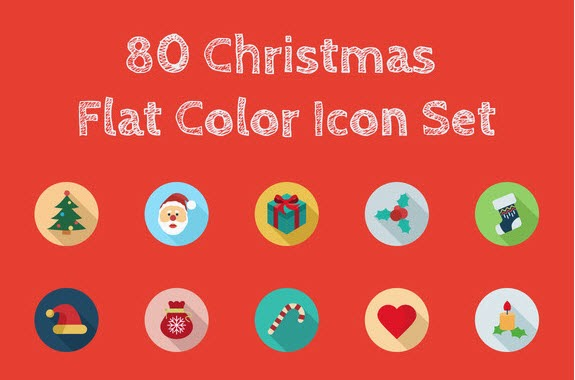 80 Christmas Flat Color Icon Set