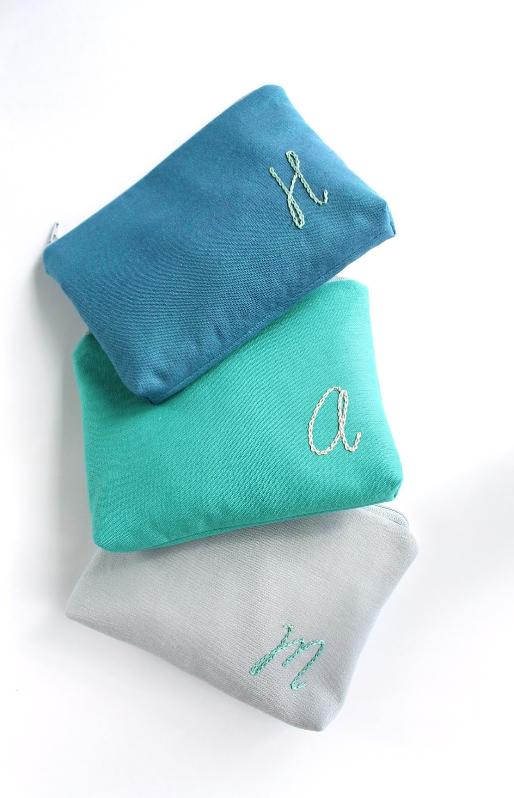 monogram cosmetic bags by allisa jacobs