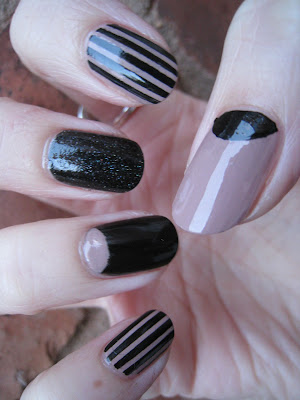 Stripes and half moon black and nude nail art