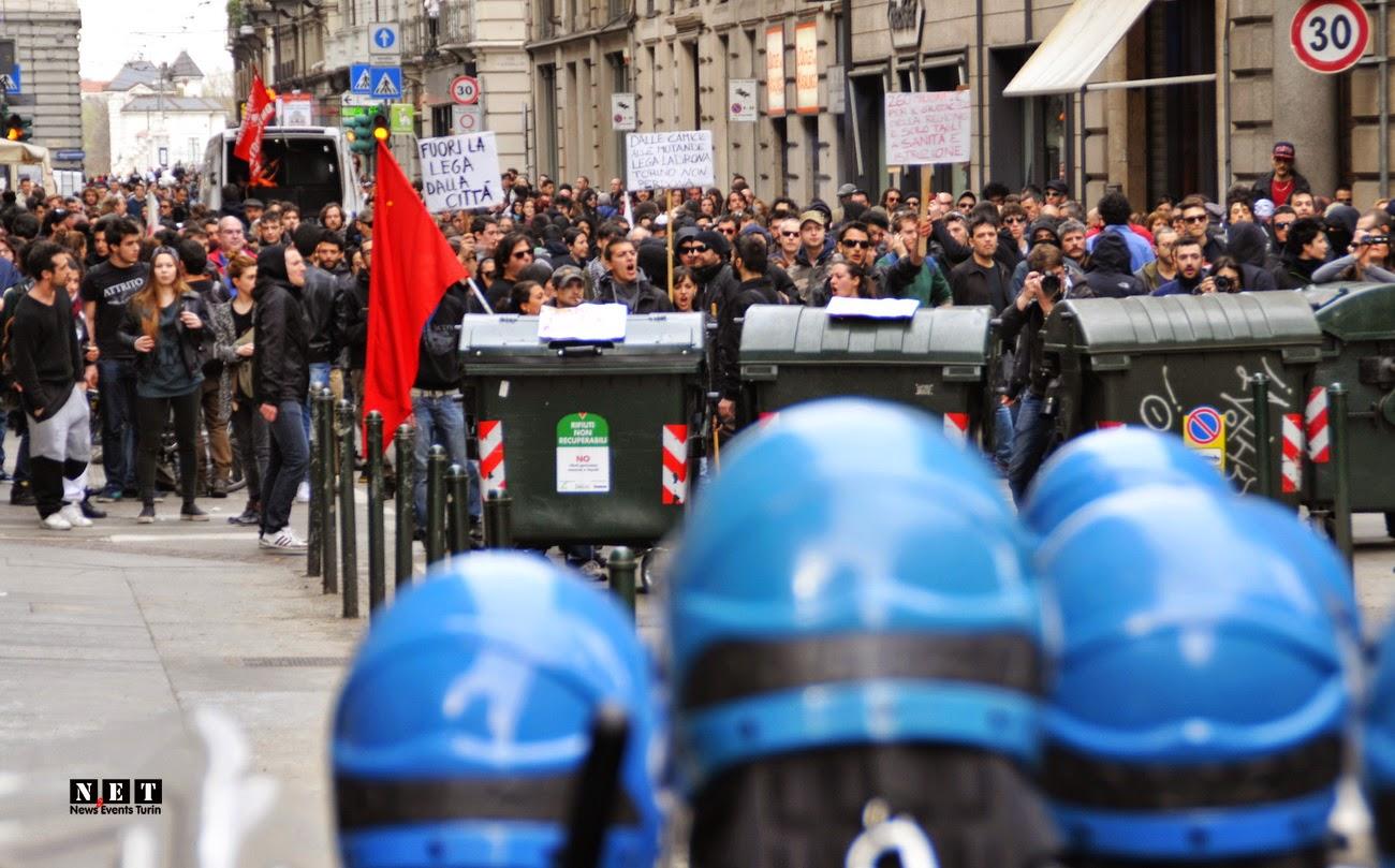 #MaiConSalvini scontri cariche Torino feriti