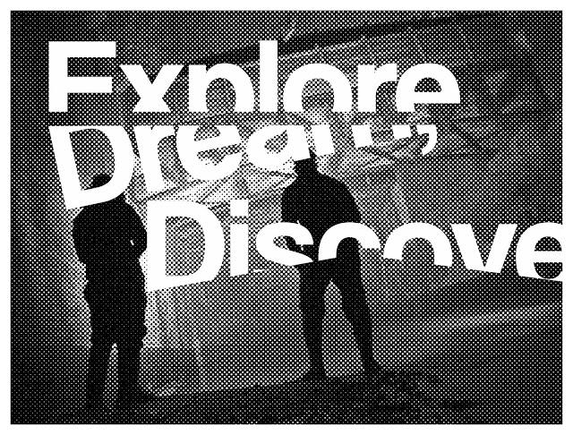 graphic design, urbex, half tone, halftone, eroded, dots, explore, dream, discover, adventure, quotes, manchester, mmu