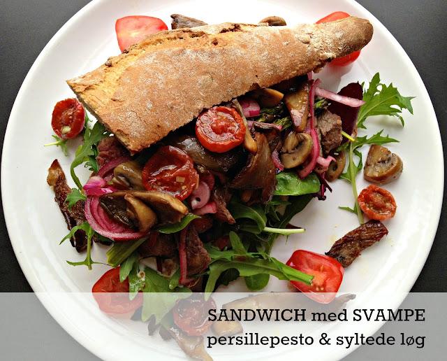 Vegetarsandwich med ristede svampe og persillepesto - Mit livs kogebog