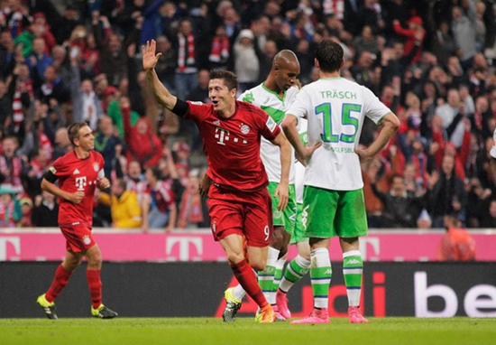 Lewandowski - Bayern de Munique 5 x 1 Wolfsburg - Campeonato Alemão(Bundesliga) 2015/16