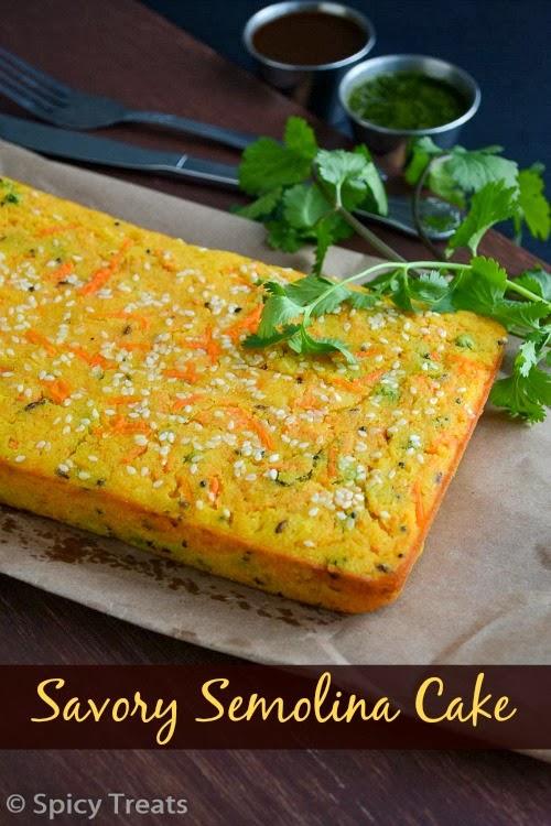 savory semolina cake / savory semolina carrot cake