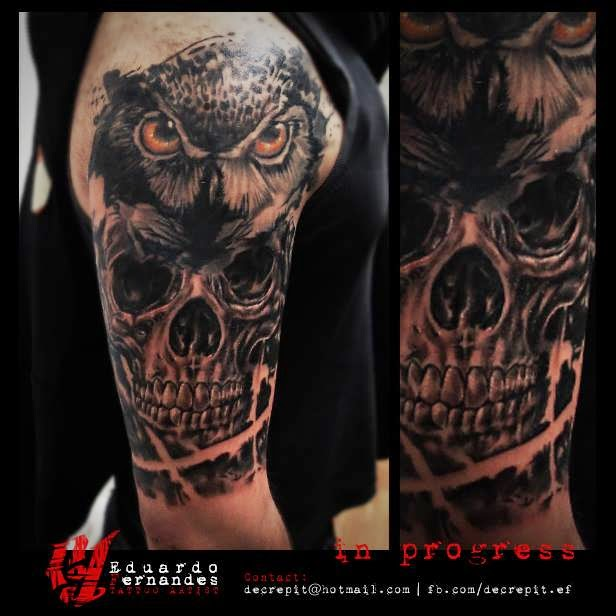 Owl skull tattoo in progress tattoos eduardo fernandes for Owl tattoo skull