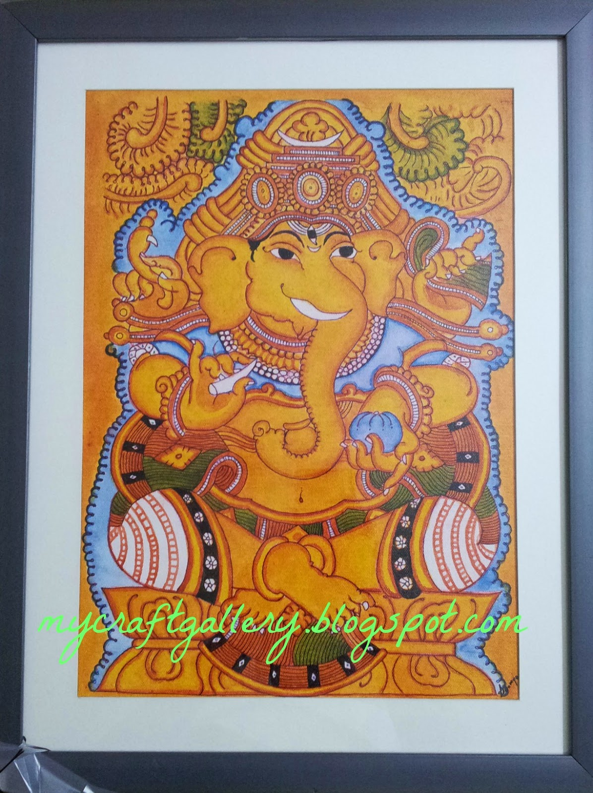 My craft gallery kerala mural painting lord ganesha for Mural art of ganesha