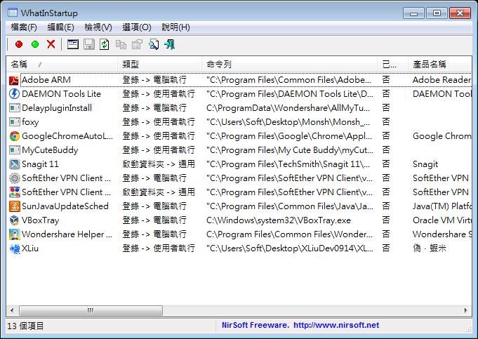 開機啟動程式設定軟體推薦 ( Win7/WIn8 ):WhatInStartup Portable 免安裝版下載(中文版)