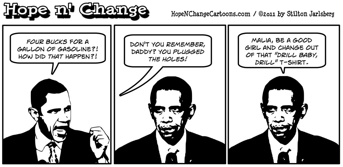 Barack Obama addresses high gas prices but forgets that he plugged the hole on oil production in the United States, hopenchange, hope n' change, hope and change, stilton jarlsberg