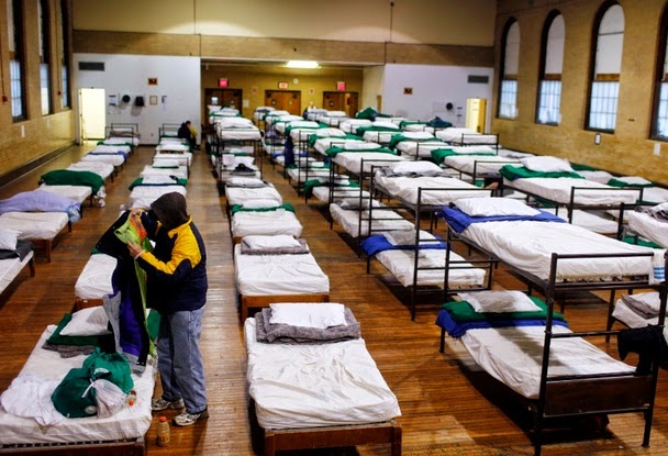 A picture of a homeless shelter.