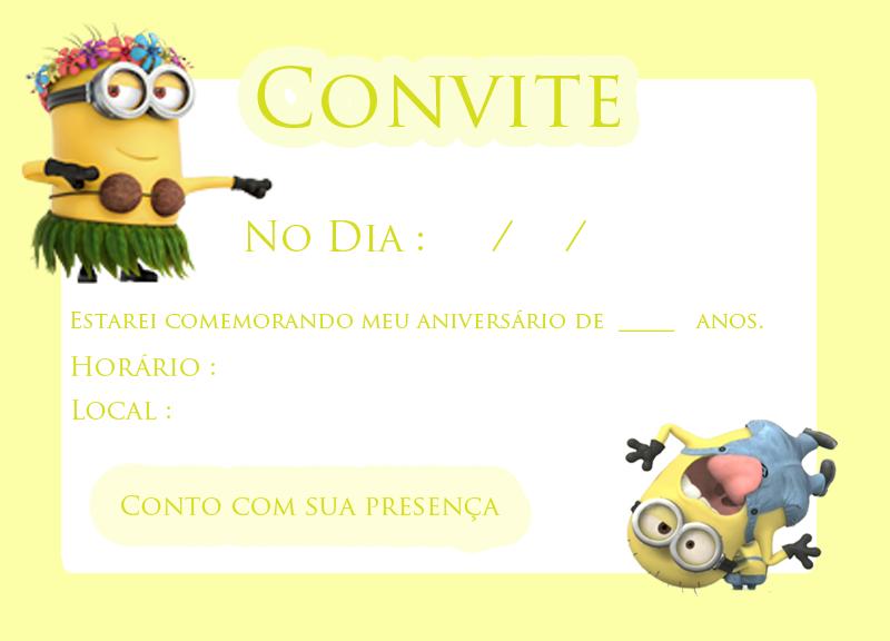 convite festa minions
