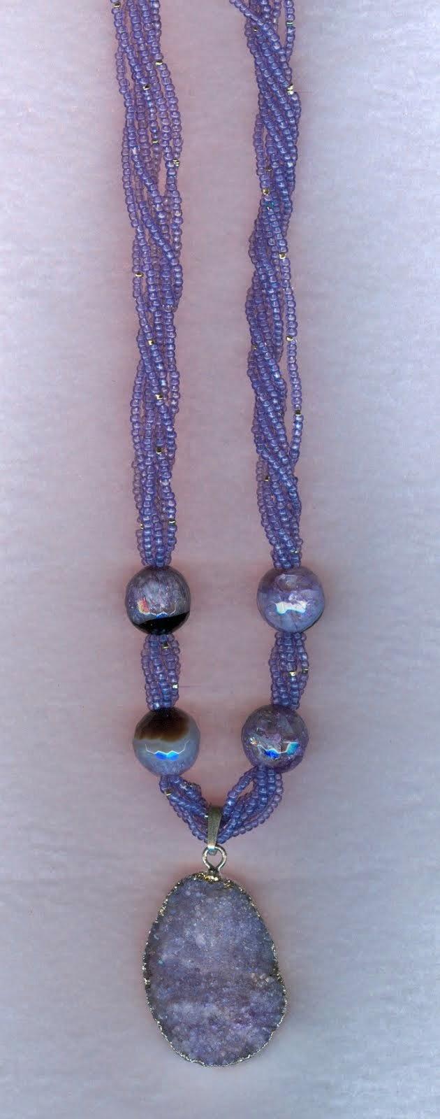 purple druzy quartz and crystallized onyx