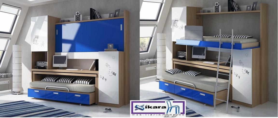 Dormitorios juveniles poco espacio gallery of with - Habitaciones infantiles dobles poco espacio ...