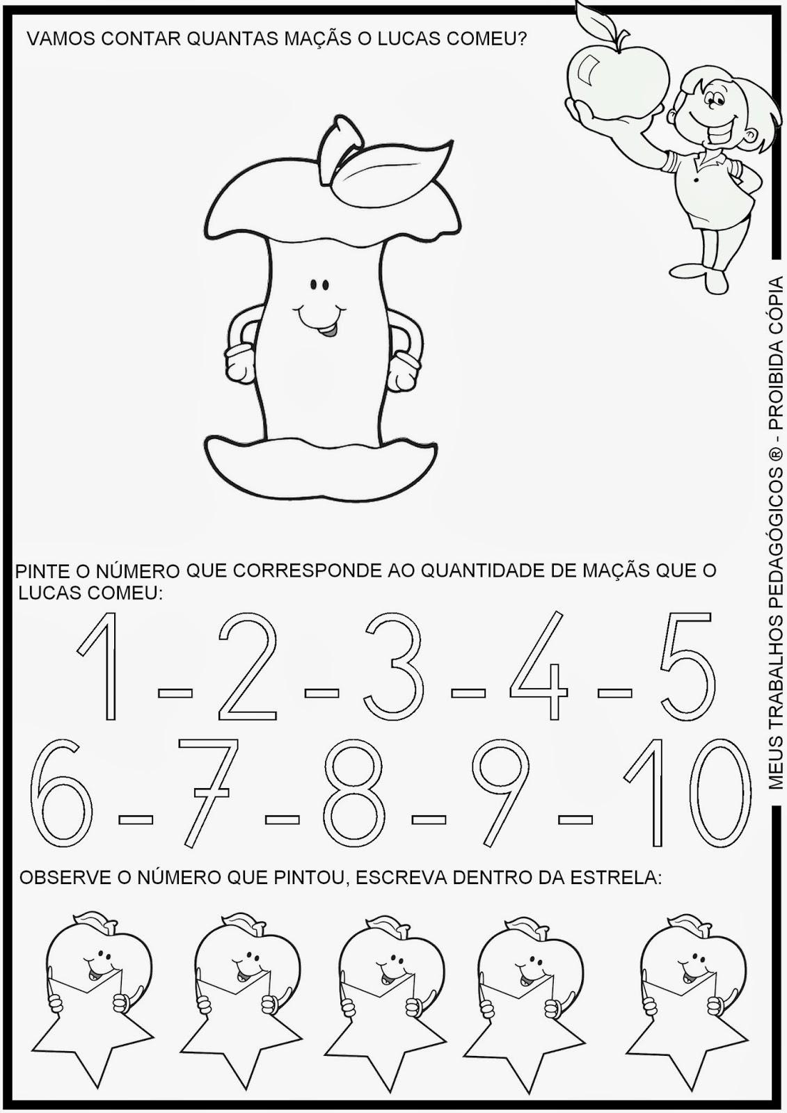 Amado Meus Trabalhos Pedagógicos ®: Atividades de matemática - contando  TM19