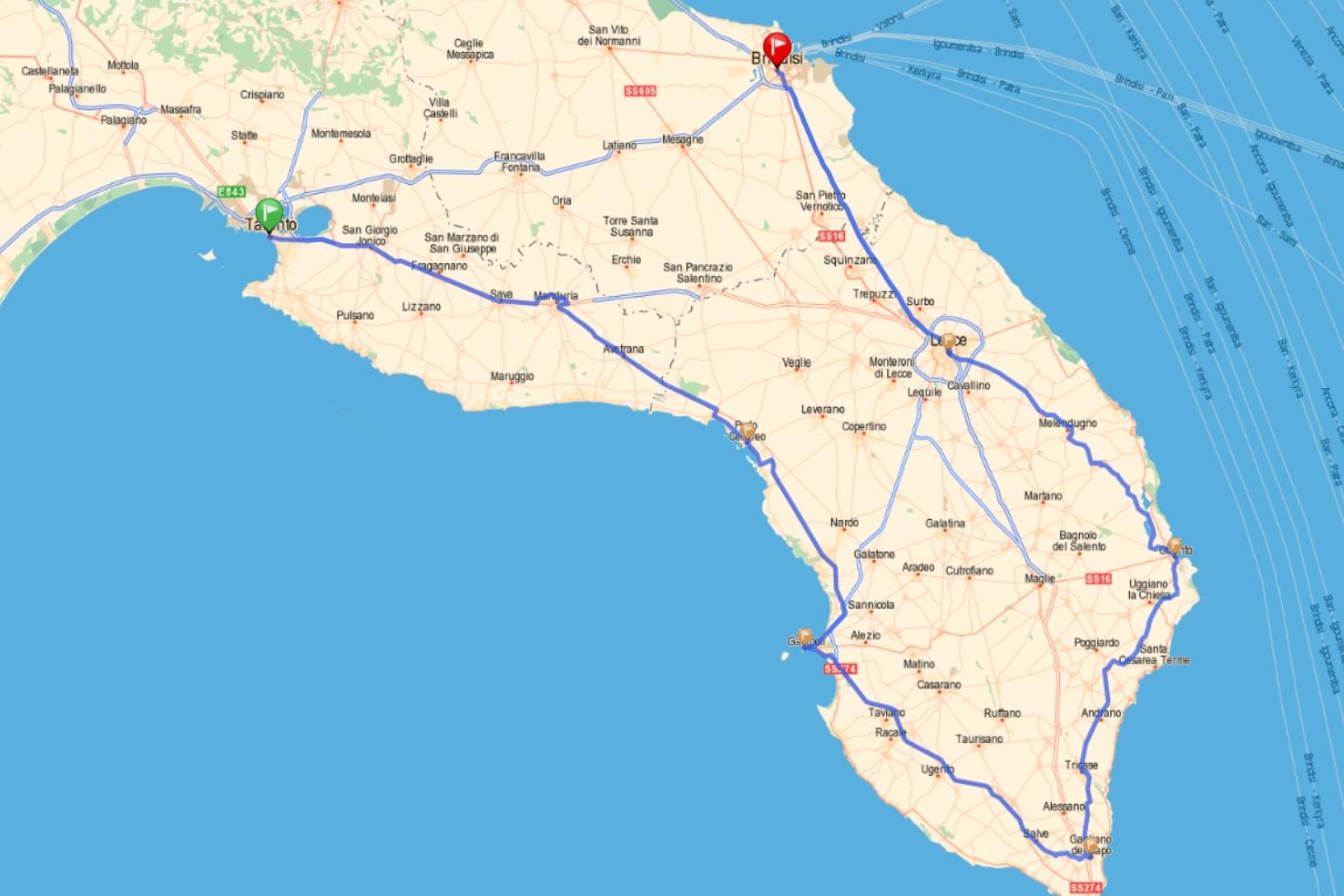 Itinéraire envisagé | Le tour de l'Italie en 80 jours