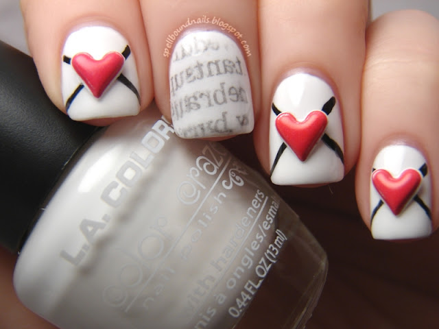 nails nail art nailart mani manicure polish Spellbound Lacquer holiday Valentine's Day Valentine Love Letters Newspaper newsprint envelopes envelope hearts heart stickers red white black LA Colors Energy Source L.A. Petities Night fun cute sweet lovely