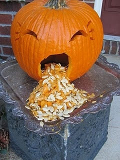 puking pumpkin with power tools