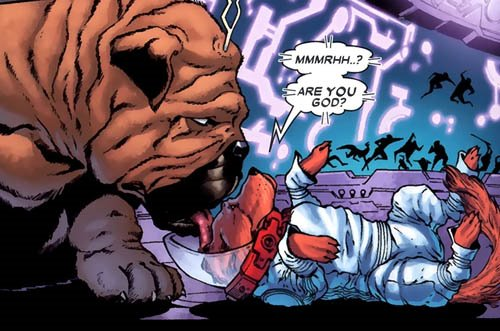 A single comics panel. Lockjaw licks the top of Cosmo's head. Cosmo lays on his back. A battle rages in silhouette behind them. Cosmo says, 'Mmmrhh..? Are you god?'