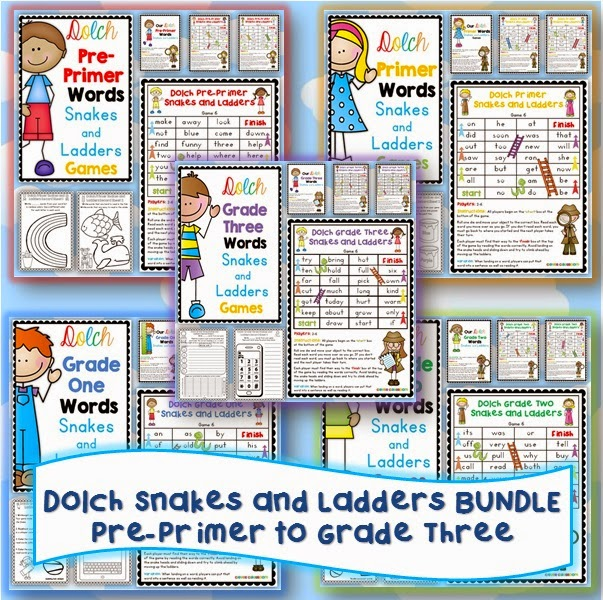 Dolch Snakes and Ladders BUNDLE Pre-Primer to Grade Three with record sheets for centers