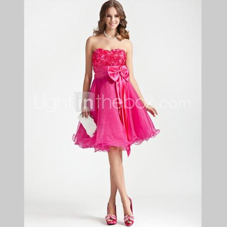 Ярко розова къса бална рокля с панделка