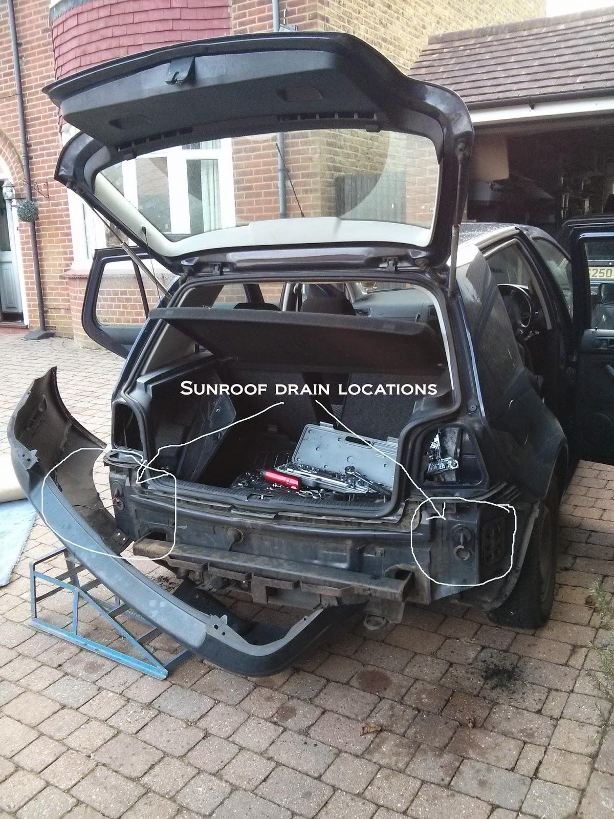 VW Golf Sunroof Leaking - Drain Hole Locations