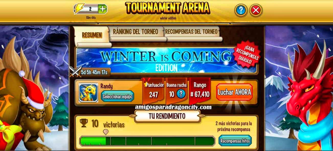 imagen de la arena de la isla torneo winter is coming