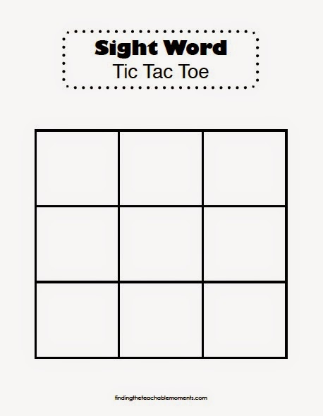 Finding the Teachable Moments Word TicTacToe 4 Ways – Tic Tac Toe Template