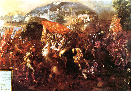 Entrada de Hernan Cortes a la ciudad de Potonchán.