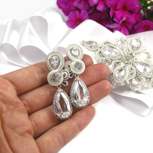 Kolczyki ślubne sutache ivory z kryształami Novia Blanca