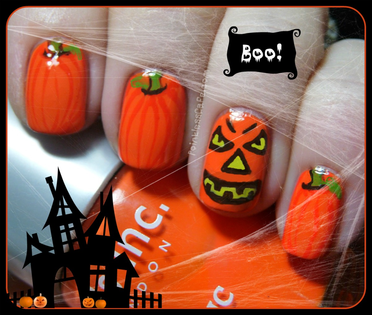 Halloween Jack-O-Lantern and Pumpkins Nail Art | Pointless Cafe