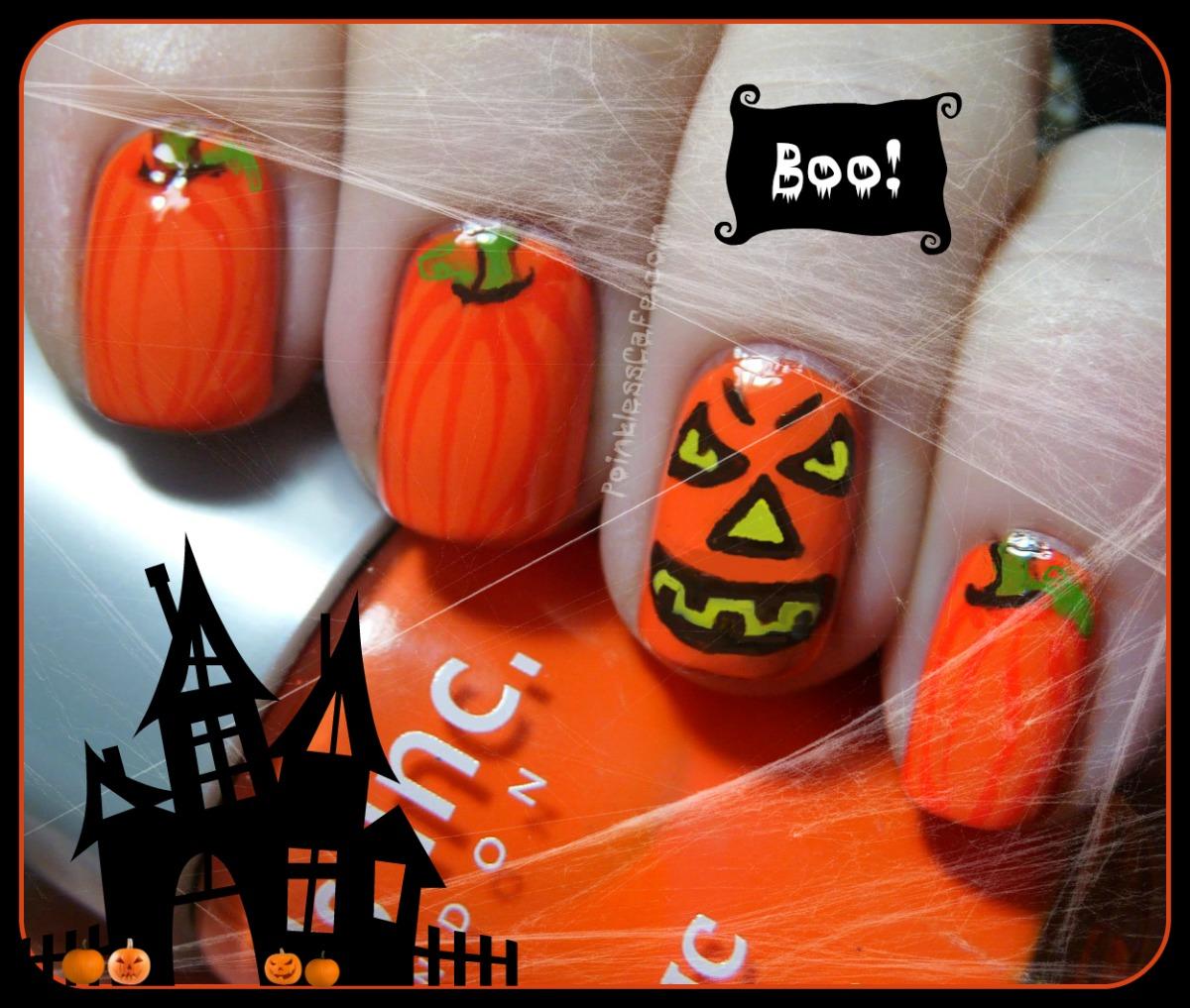 Halloween Jack-O-Lantern and Pumpkins Nail Art | Pointless Cafe