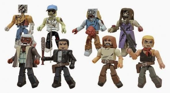 The Walking Dead Minimates Series 7 Wave 2 Action Figures - Rick Grimes, Negan, Andrea, Ezekiel, Balding Zombie, Thug Zombie, Prom Zombie & Mauled Zombie
