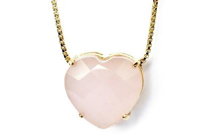 colar coração rosa