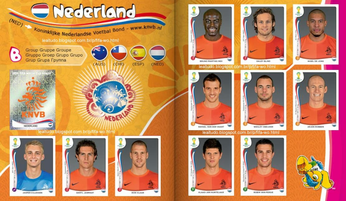 Album NEDERLAND - HOLANDA Fifa World Cup BRAZIL 2014 LIVE COPA DO MUNDO Sticker Figurinha Download Lealtudo