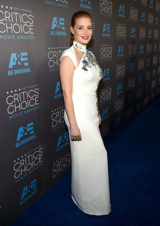 Jessica Chastain in an Antonio Berardi dress at the 2015 Critics' Choice Awards