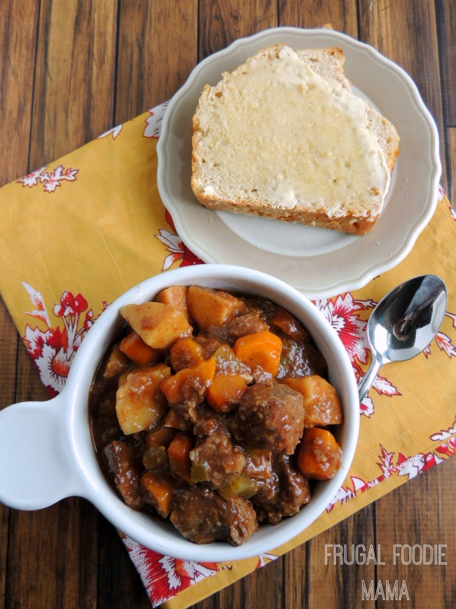 Slow Cooker Balsamic Beef Stew- this flavorful stew gets it's rich flavor from the addition of a balsamic reduction #crockpot