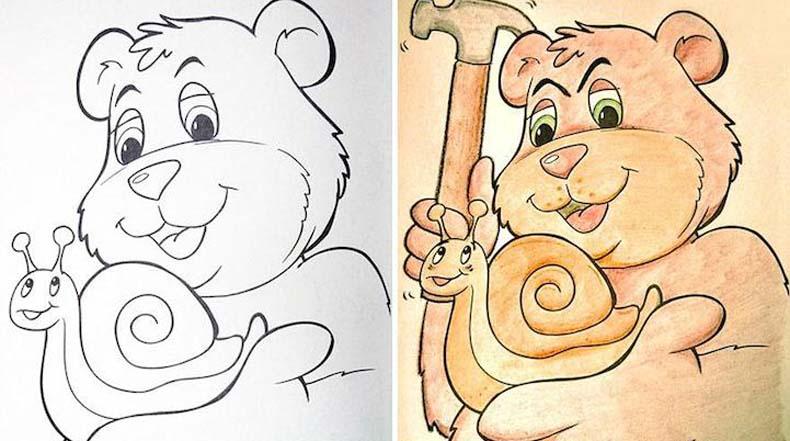 Estas caricaturas de libro para colorear se convierten en siniestras después de haber sido coloreadas