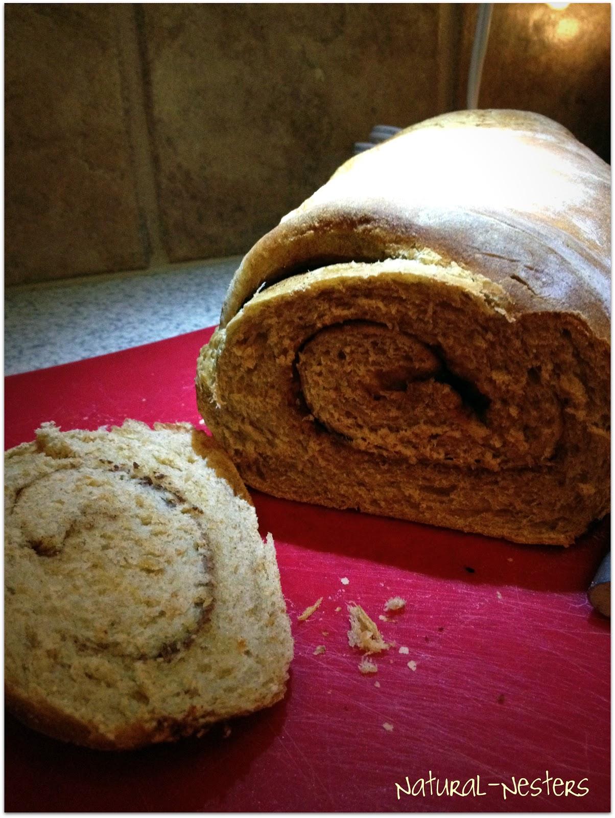 Natural Nesters: Cinnamon-Swirl Wheat Bread