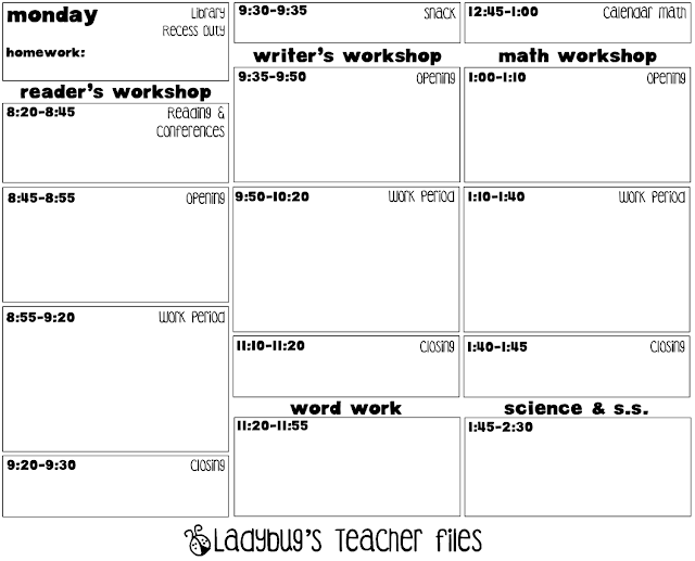 2012 2013 Day At A Glance Lesson Template Ladybugs Teacher Files