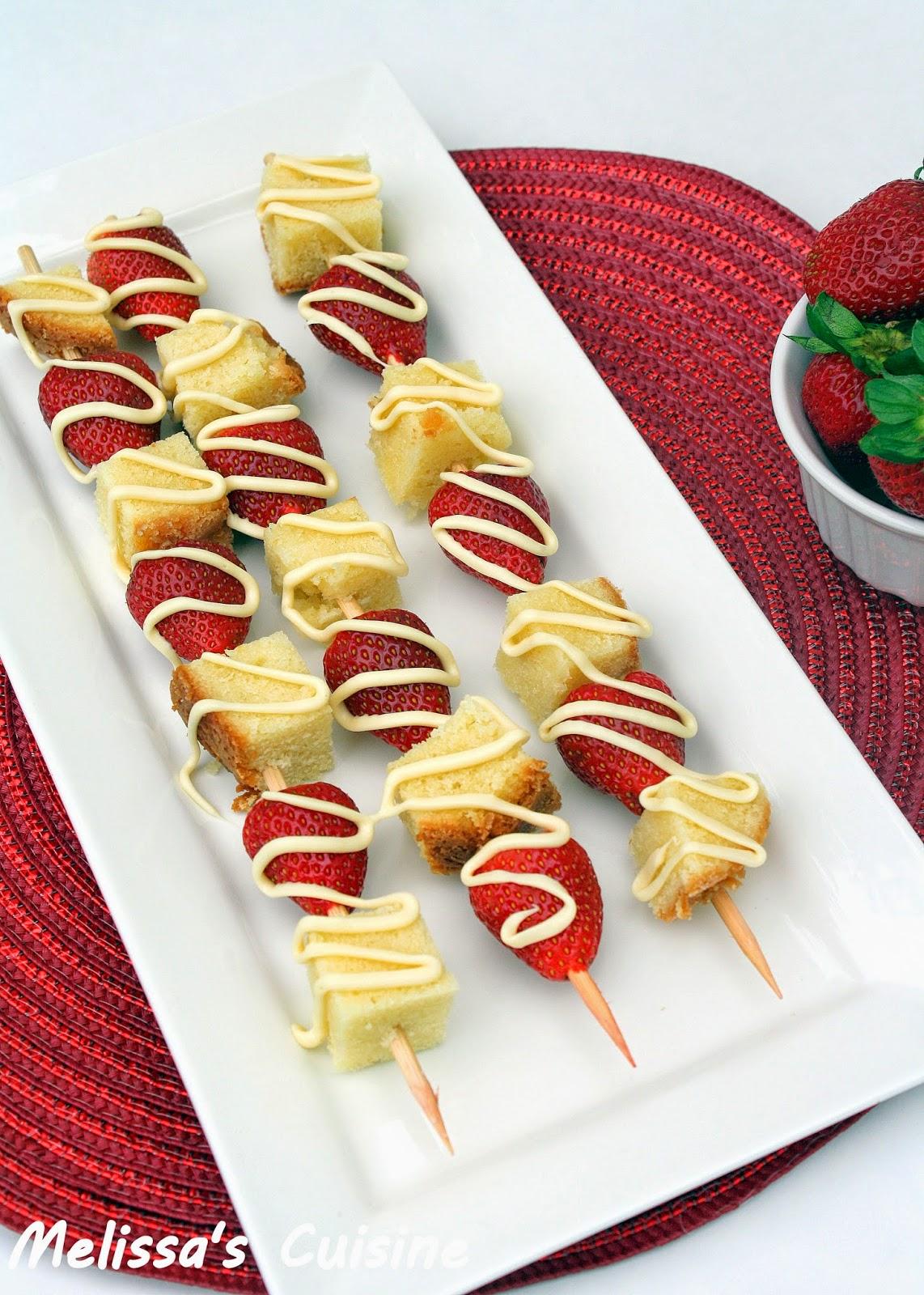 Melissa's Cuisine: White Chocolate Strawberry Pound Cake Skewers