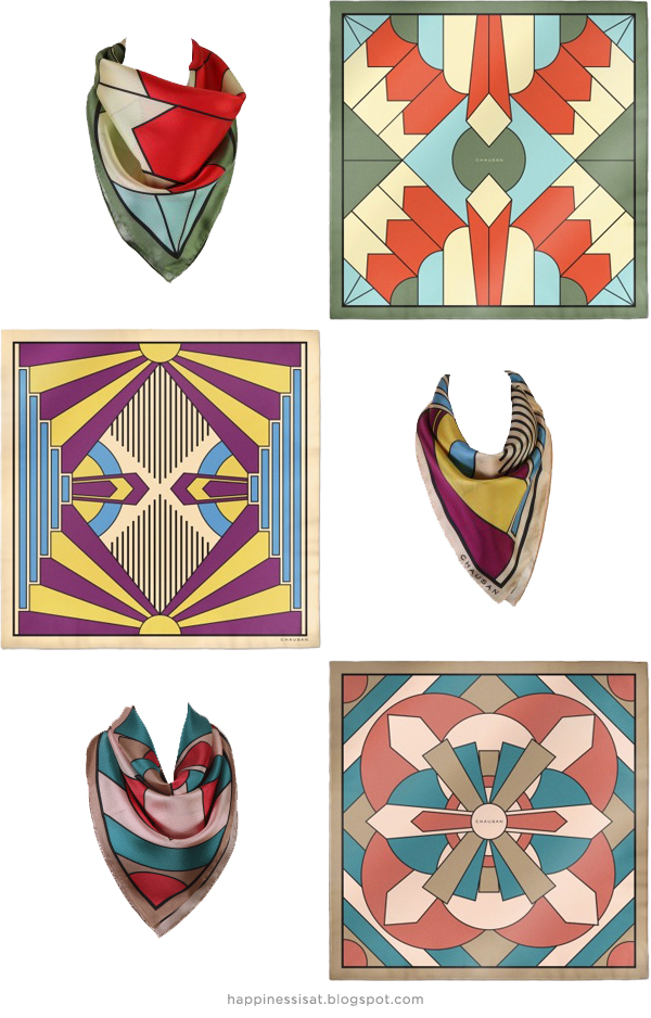 Freelance illustration & graphic design: Art Deco scarf designs created for Chausan luxury silk scarves