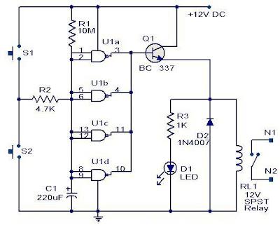 Quad 2 input  CMOS IC 4011 Timer Circuit