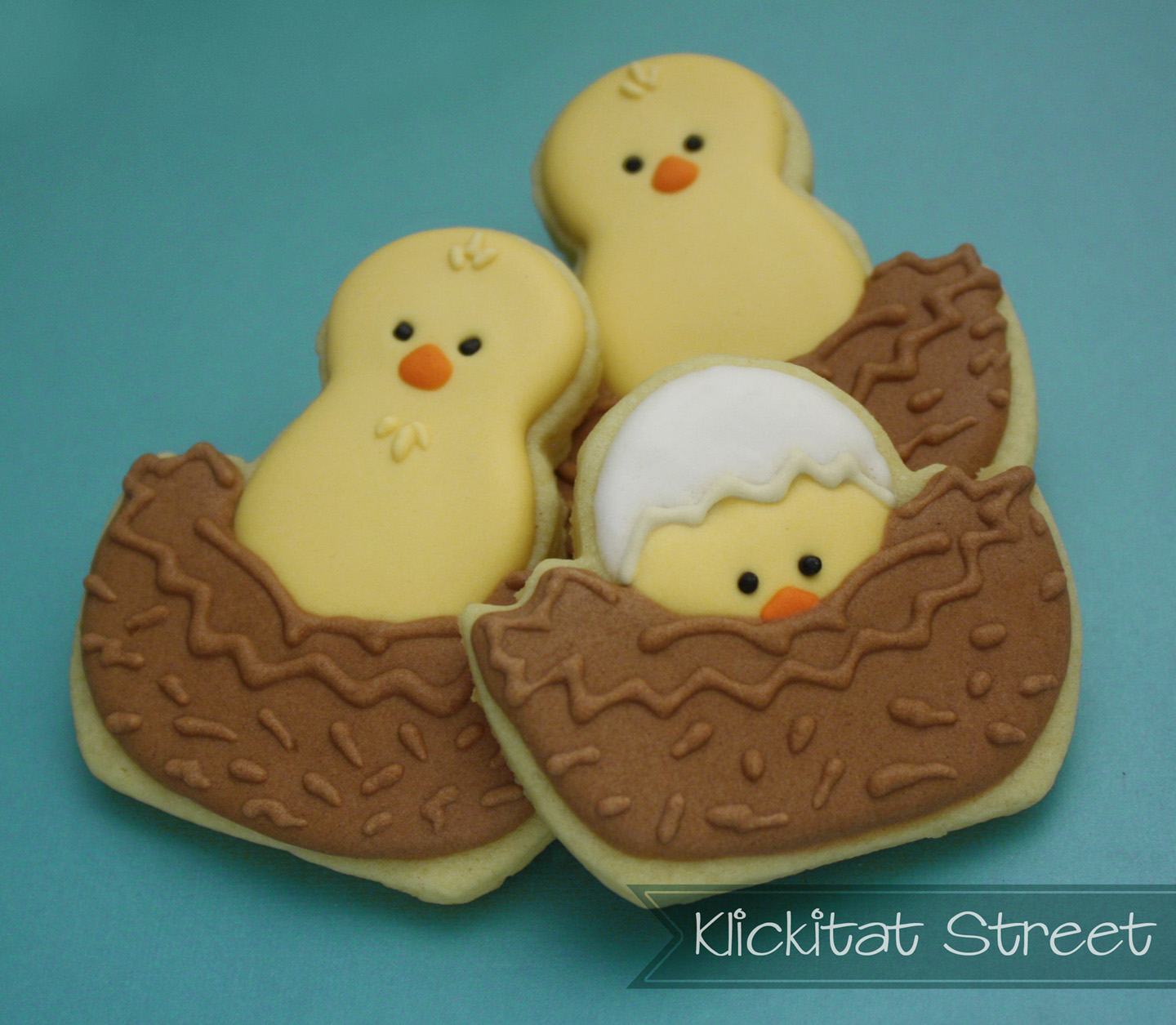 birds in nest cookies made from chick in Easter egg cutter
