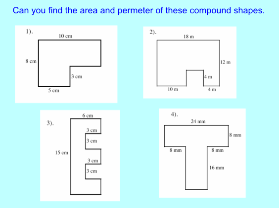 Area of compound shapes worksheet year 4