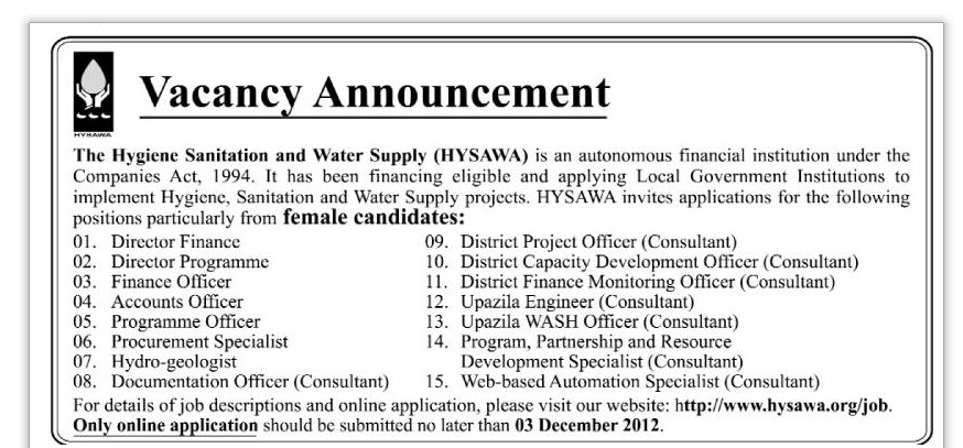 The Hygiene sanitation and Water Supply HYSAWA :: Bdjobs ...