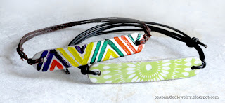 DIY upcycled popsicle stick bracelet tutorial, finished bracelets - one handpainted and one with paper