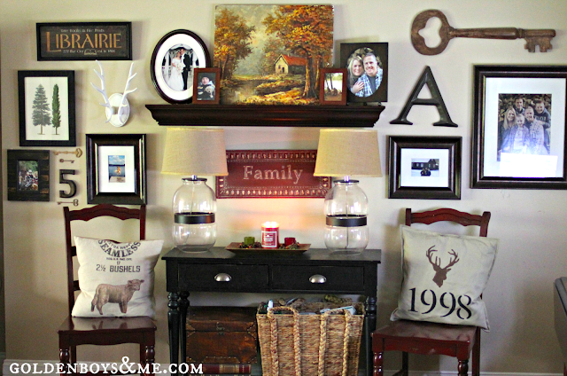 Gallery wall part of Fall Home Tour via www.goldenboysandme.com