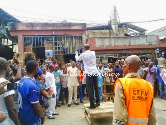 Pics: Pastor Taribo West Preaching at Alaba Market 3