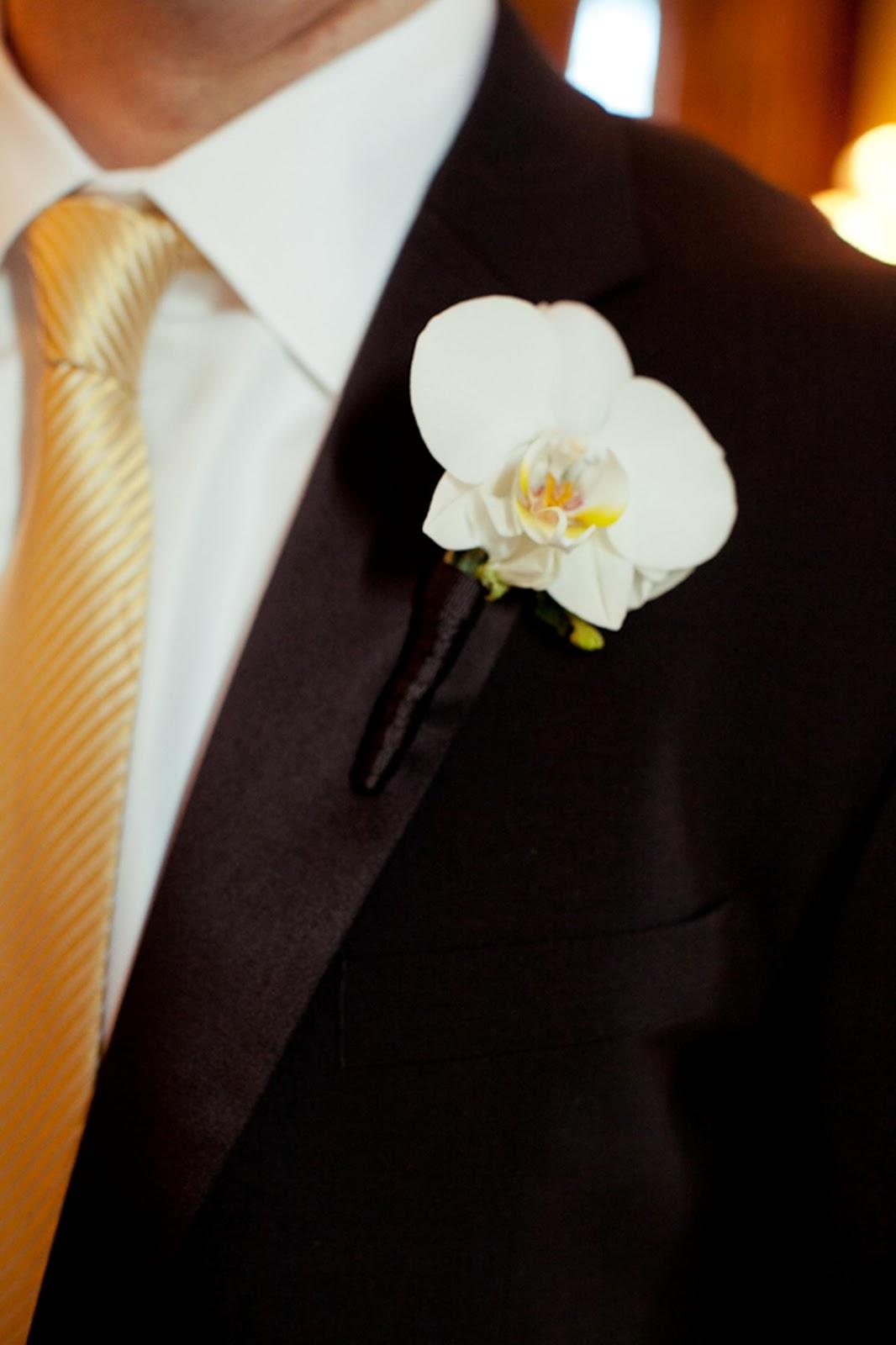 Orchid Boutonniere - Boutonnieres - Wedding Flowers - Groom - Usher - Best Man - Groomsmen - Ushers - Groom's Boutonniere