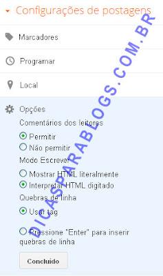 configurações das postagens do blogger