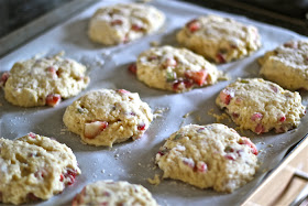 A recipe for strawberry and rhubarb drop scones -- perfect for tea or breakfast